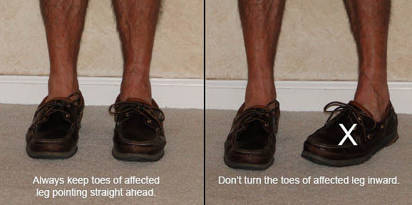 Point your toes straight ahead, don't turn your toes inward.
