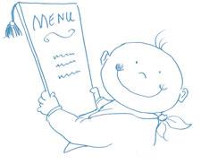 Baby holding menu