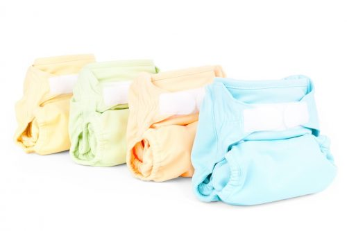 several cloth diapers